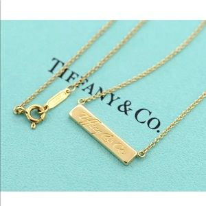 Authentic Tiffany notes 18k gold bar necklace